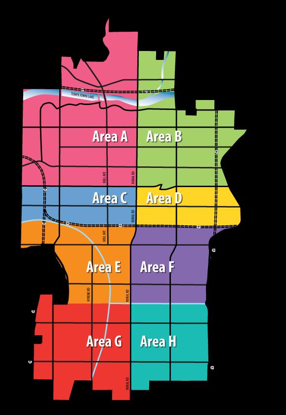 City Of Tempe AZ  2017 Mixed Waste Amp Green Organics Area Map
