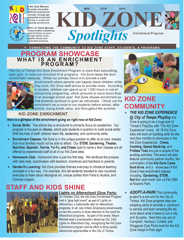 Spotlight on Kid Zone Nov