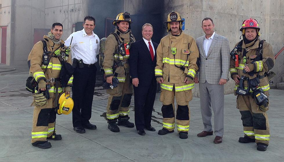 mayor and firefighters