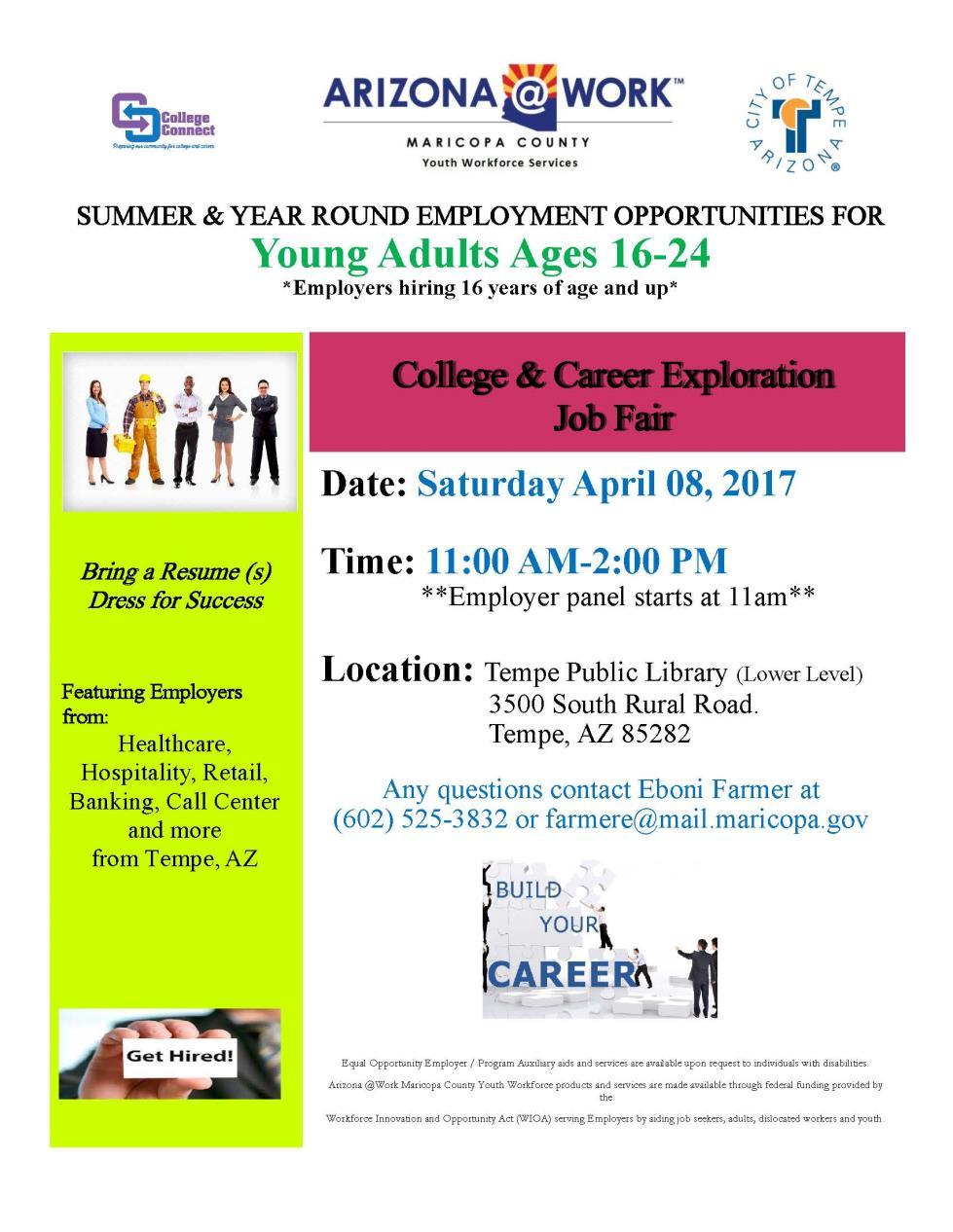 city of az calendar of events meetings college and career exploration job fair rev 02 24 17