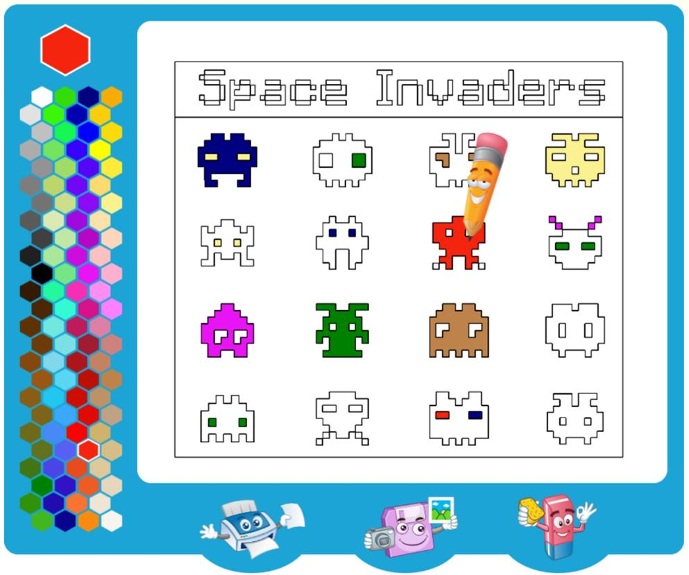 Space Invaders Coloring Page