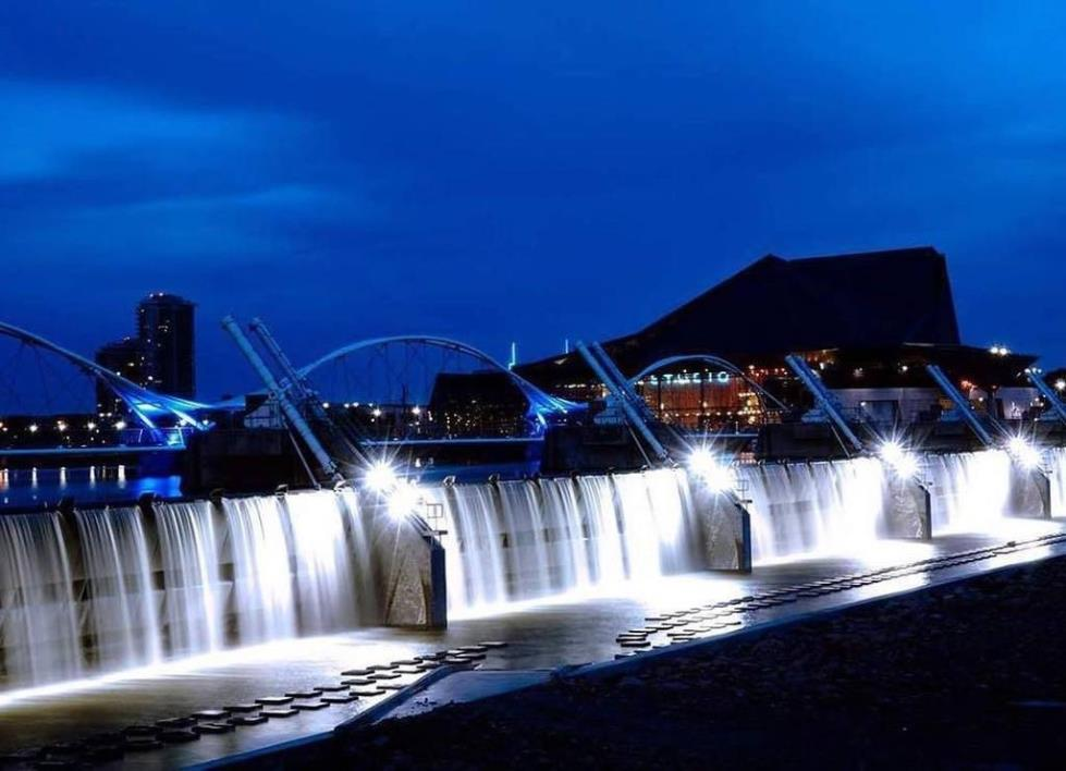 dam at night flowing