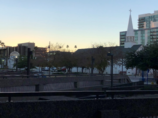Adjacent Mosque and Church at sunset