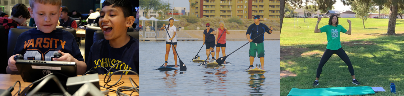 Kids Gaming, Paddle boards, Exercise in the park
